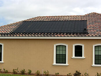 Heliocol Solar Pool Heater on a Barrel Tile Roof